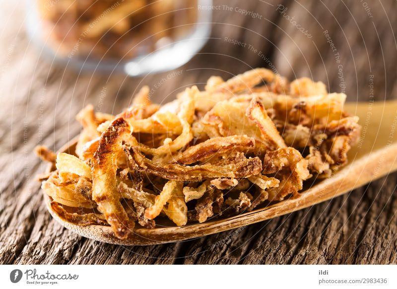 Crispy Fried Onion Strings Fresh Vegetable Snack Slice Horizontal Home-made Spoon Crunchy Sliced Shoelace