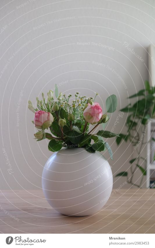 inside Plant Flower Rose Leisure and hobbies Joy Nature Bouquet Vase Furniture Wooden table Tabletop Pink Green White Dinner table Eucalyptus tree Colour photo