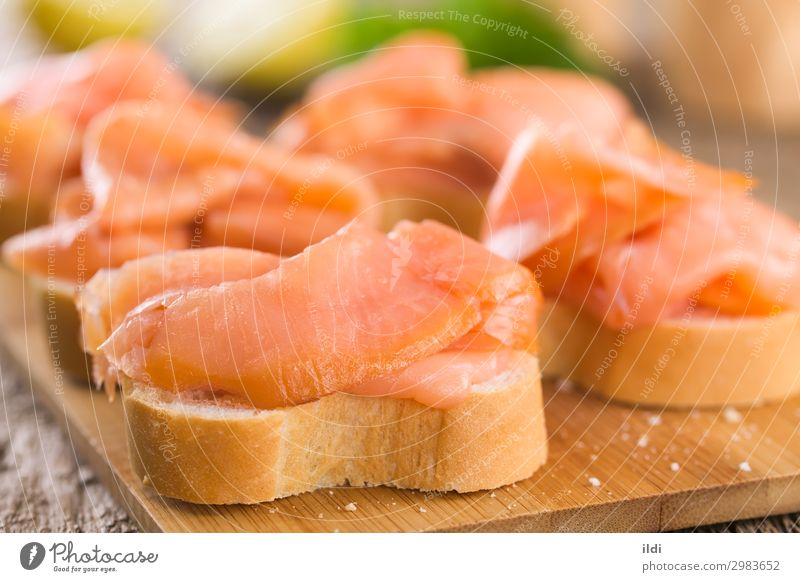Smoked Salmon on Baguette Seafood Bread Breakfast Buffet Brunch Healthy fish Slice Sliced Gourmet Delicacy canape Snack Meal Sandwich omega 3 filet fillet