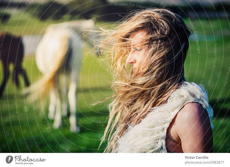 a blonde woman in a windy day Style Joy Beautiful Summer Beach Woman Adults Fashion Bikini Sunglasses White Beauty Photography Bohemian boho Chic girl hair