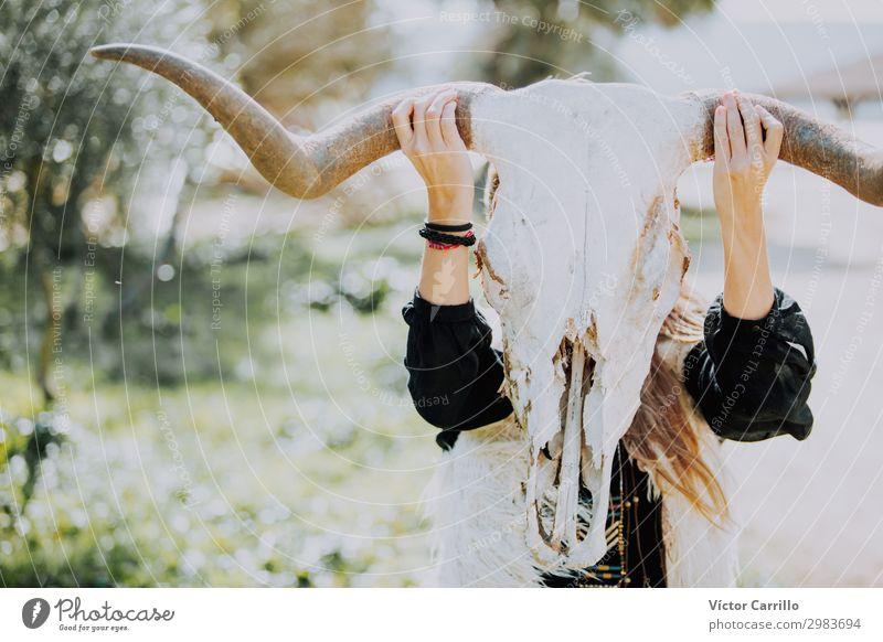 a young girl with a cow skull Style Joy Beautiful Summer Beach Woman Adults Fashion Bikini Sunglasses White Beauty Photography Bohemian boho Chic hair Hippie