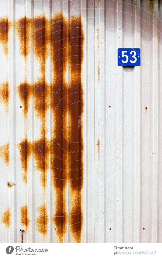 53 Vacation & Travel Denmark Fishermans hut Wall (barrier) Wall (building) House number Plastic Digits and numbers Simple Gloomy Blue Brown White Emotions