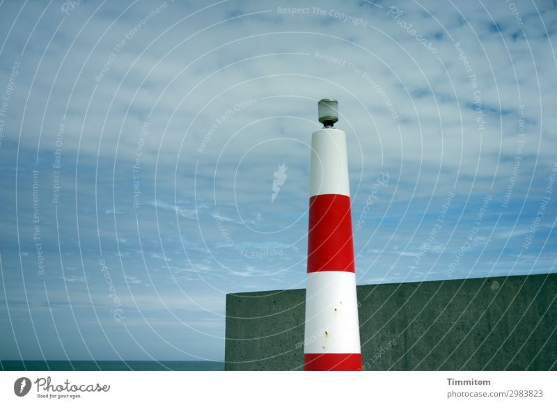 Danish Design Vacation & Travel Environment Nature Elements Water Sky North Sea Denmark Warning signal Concrete Line Esthetic Simple Blue White Emotions
