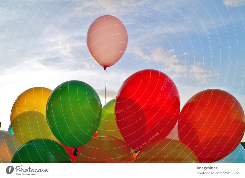 "A mixture of colourful balloons over a blue sky. Joy Leisure and hobbies Feasts & Celebrations Birthday Balloon Joie de vivre (Vitality) Love ""abstract activity"