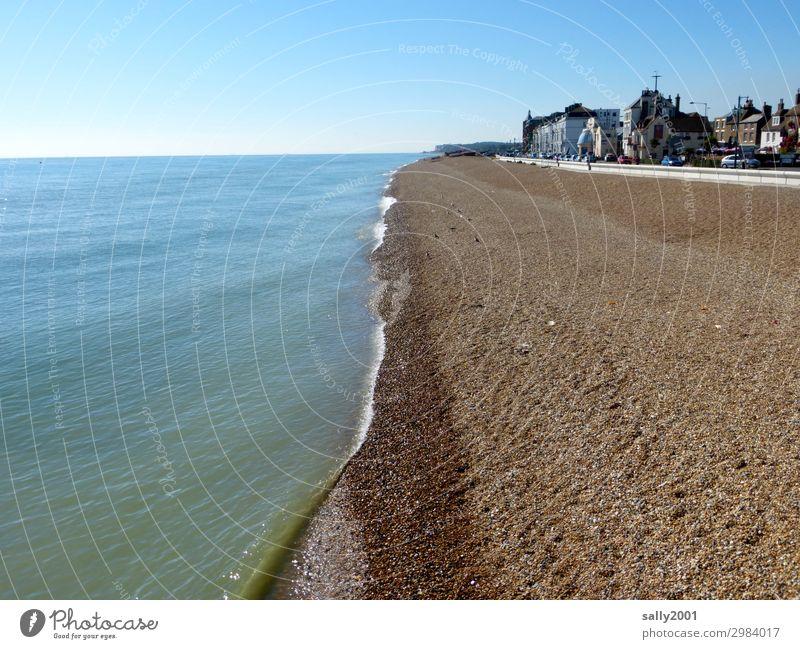 beachside... Beach Ocean English Channel England Kent Gravel beach Coast bank county of Kent deal Calm forsake sb./sth. Beautiful weather Blue sky Town Place