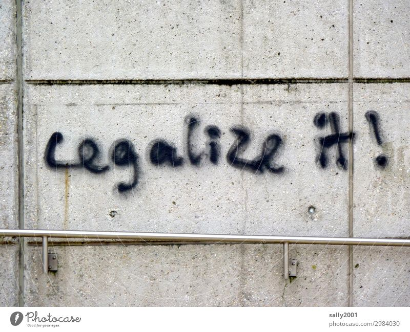 legalize it! ... Wall (barrier) Wall (building) Handrail Concrete wall Characters Signage Warning sign Graffiti Aggression Brash Trashy Town Black Vice Hope