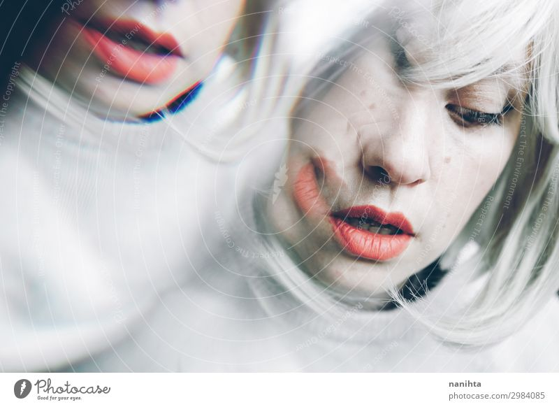 Artistic and conceptual image about personality disorder Woman Human being White Adults Sadness Feminine Emotions Hair and hairstyles Orange Blonde Crazy Future