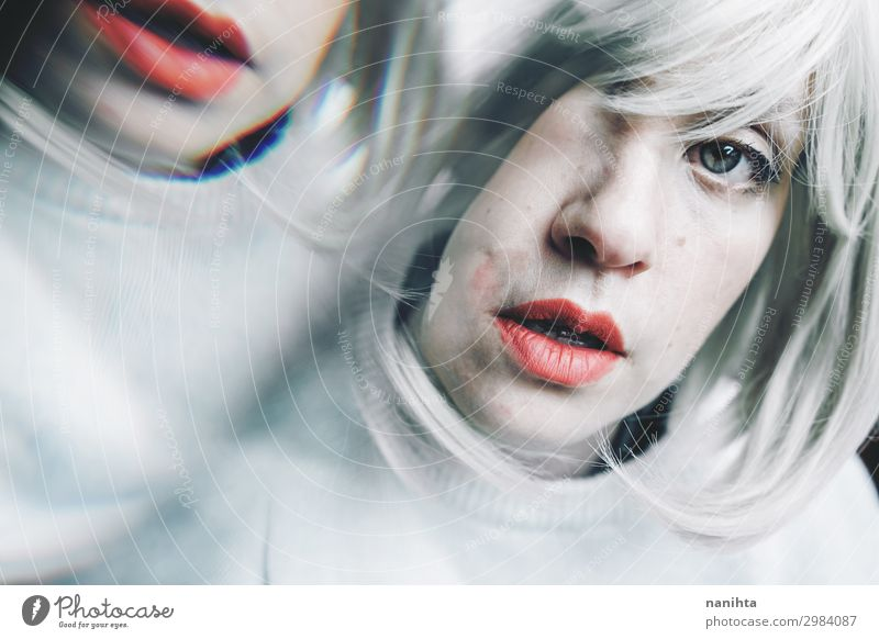 Artistic and conceptual image about personality disorder Medical treatment Medication Mirror Human being Feminine Woman Adults 1 18 - 30 years