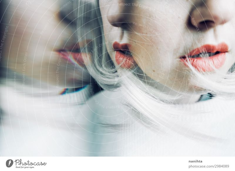 Artistic and conceptual image about personality disorder Woman Human being Youth (Young adults) White 18 - 30 years Face Adults Sadness Feminine Emotions Blonde