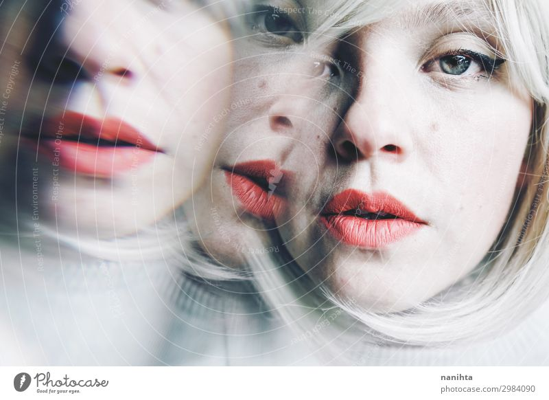 conceptual image about personality disorder Beautiful Intoxicant Mirror Human being Feminine Woman Adults 1 30 - 45 years Art Blonde Sadness Dark Fantastic