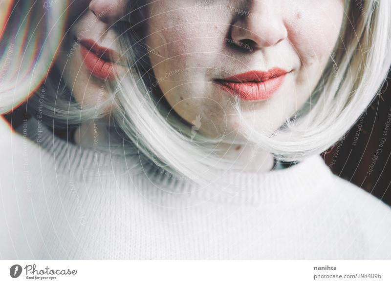 Artistic and conceptual image about personality disorder Medical treatment Medication Mirror Woman Adults Blonde Sadness Crazy Emotions Idea Identity Future