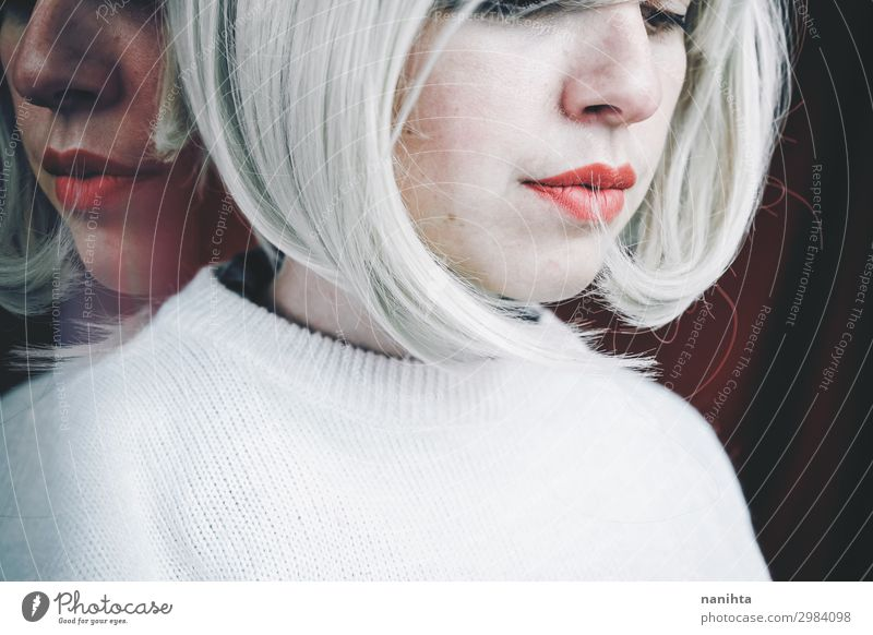 Artistic and conceptual image about personality disorder Medical treatment Medication Mirror Human being Feminine Woman Adults 1 30 - 45 years Blonde Sadness