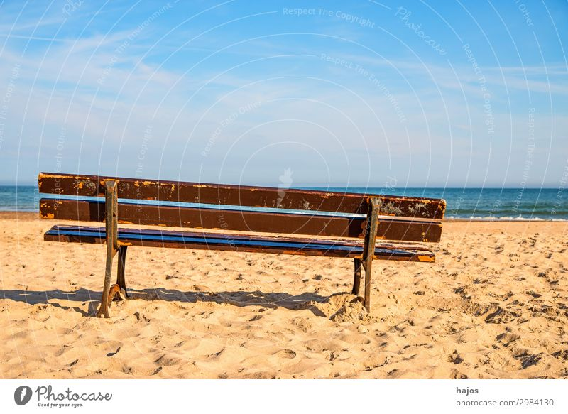 Bank on the Baltic Sea beach Vacation & Travel Tourism Summer Beach Ocean Sand Bright Beautiful Idyll Baltic beach Bench Park bench Rest bench Sandy beach M Sky