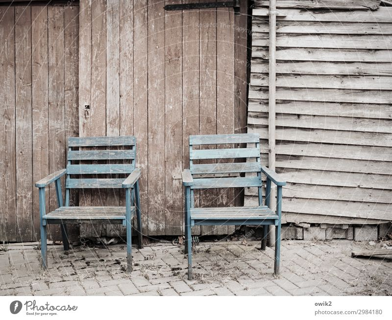 twins Gate Chair Wood Stand Wait Old Sharp-edged Simple Together Dry Serene Patient Calm Integrity Unwavering Thrifty Equal Stagnating Decline Past Transience
