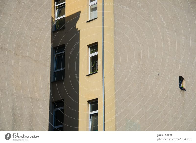 Firewall Space Kreuzberg Downtown Town house (City: Block of flats) Facade Window Fire wall Authentic Sharp-edged Above Brown Moody Protection Secrecy SME