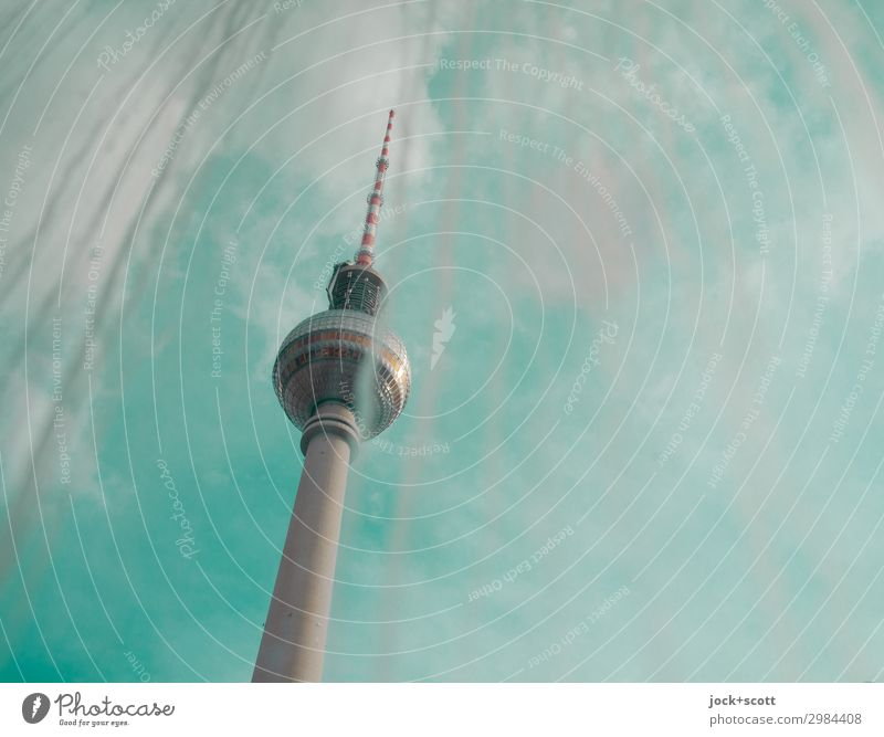 Green is the new Blue Air Sky Clouds Beautiful weather Downtown Berlin Tower Tourist Attraction Berlin TV Tower Window pane Glass Stripe Dirty Free Tall