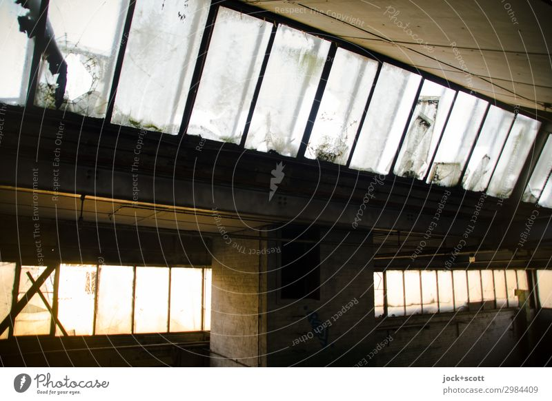 Reverberation in hall Ruin Hall Roof Column Glazed facade Retro Style Decline Transience lost places Vacancy Ravages of time Shaft of light GDR Derelict