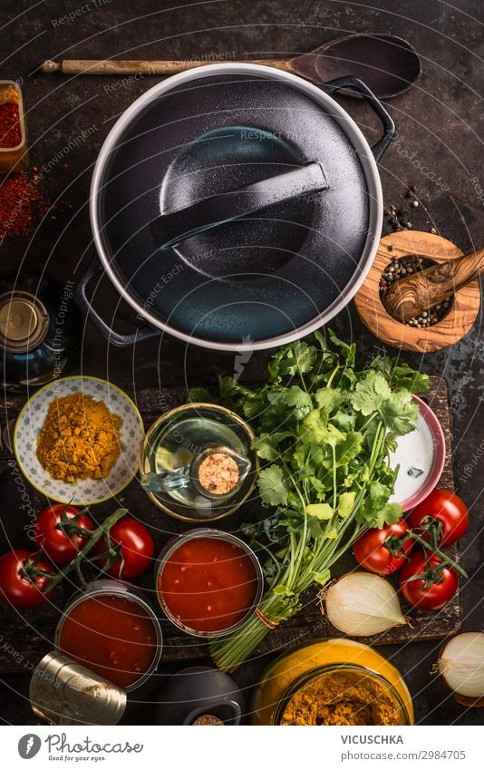 Cast iron pot with ingredients Food Vegetable Herbs and spices Nutrition Organic produce Vegetarian diet Diet Slow food Crockery Shopping Style Design