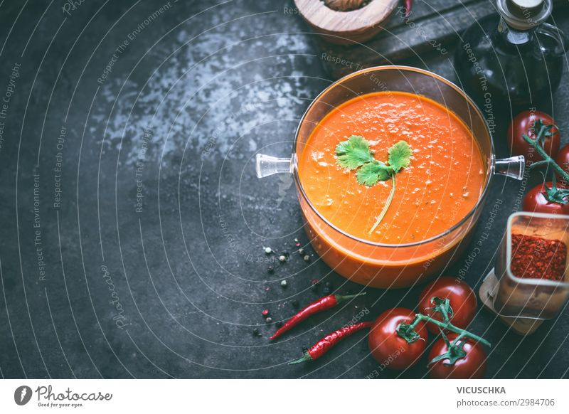 Background with tomato soup Food Vegetable Soup Stew Nutrition Lunch Organic produce Vegetarian diet Diet Crockery Pot Style Design Healthy Eating Table