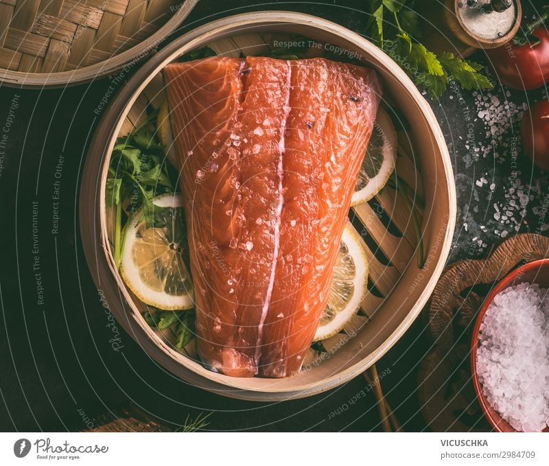 Salmon in bamboo steam cooker Food Fish Nutrition Lunch Organic produce Diet Crockery Pot Style Design Healthy Eating Restaurant Container Cooking Salmon filet