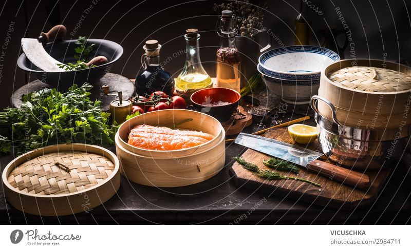 Asian cooking Food Fish Vegetable Herbs and spices Nutrition Organic produce Diet Asian Food Crockery Style Design Healthy Eating Restaurant bamboo steamer