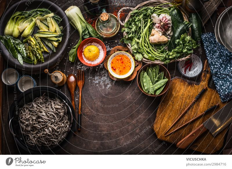 Asian food background. Vegetarian ingredients. Food Vegetable Herbs and spices Nutrition Organic produce Vegetarian diet Diet Asian Food Crockery Style Design