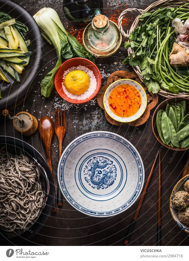 Empty Asian bowl with chopsticks and cooking ingredients Food Nutrition Organic produce Vegetarian diet Diet Asian Food Crockery Style Design Healthy Eating