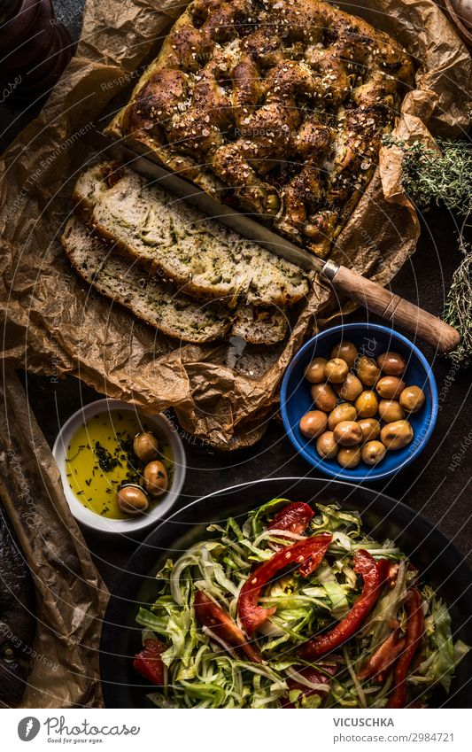 Mediterranean Lunch with Olives, Salad and Focaccia Food Lettuce Nutrition Organic produce Vegetarian diet Italian Food Crockery Style Design Healthy Eating