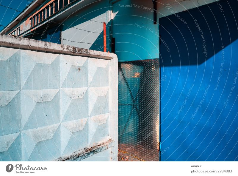 secrecy Wall (barrier) Wall (building) Facade Gloomy Blue Black White Concentrate Stagnating Corner Secrecy Colour photo Exterior shot Pattern