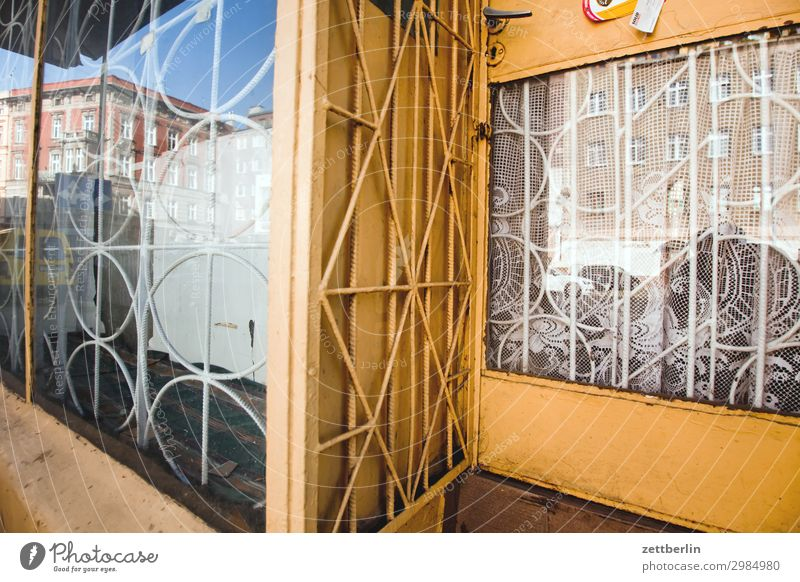 Barred shop window Old Old town Ancient House (Residential Structure) legnica Picturesque Poland Silesia Town Derelict Apartment Building Store premises Trade