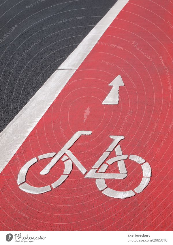 red wheel track with bicycle symbol Lifestyle Cycling Transport Means of transport Traffic infrastructure Passenger traffic Road traffic Street Lanes & trails