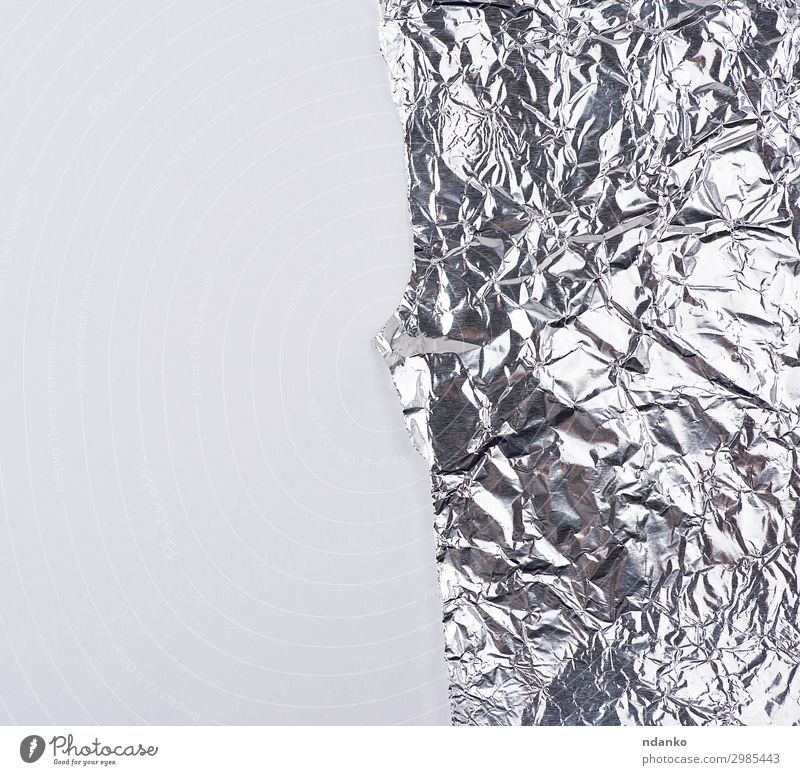 ragged edge of silver foil on a white background Paper Metal Glittering Dirty Clean Gray White Colour Luxury aluminum Blank crumpled element empty Metal foil