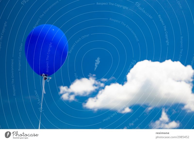 Blue baloon flying in the sky Joy Summer Decoration Feasts & Celebrations Birthday Group Sky Clouds Balloon Flying Glittering Happiness Bright White Colour air