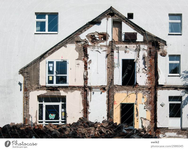 none at home Bautzen Hospital Dismantling House (Residential Structure) Facade Window Dirty Trashy Crazy Anger Aggression Force Decline Transience Change