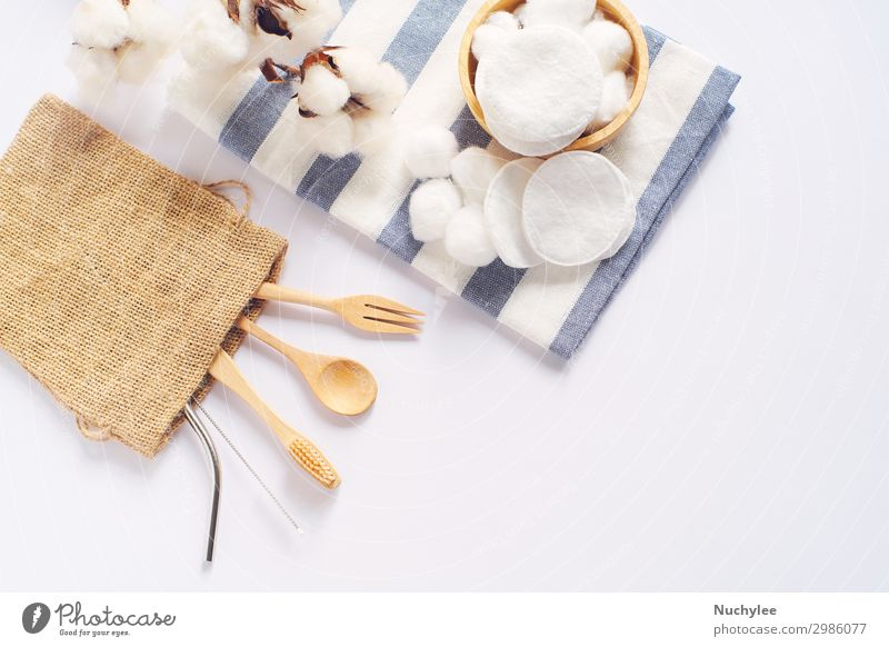 Flat lay of sustainable products White Lifestyle Wood Natural Copy Space Brown Modern Simple Kitchen Clean Wellness Tradition Beauty Photography Cloth