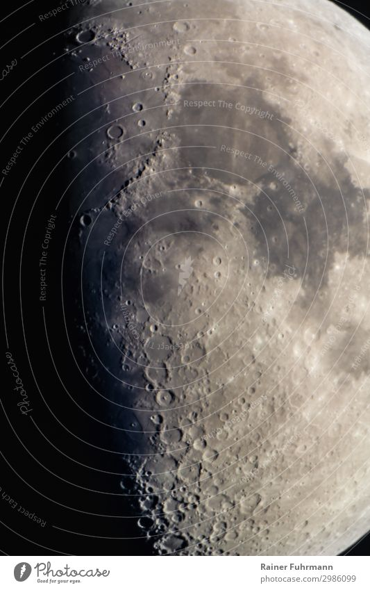 Section of the crescent moon with the Mare Imbrium and Mare Serenitatis Moon Night Sky Celestial bodies and the universe Universe crater mare Shadow