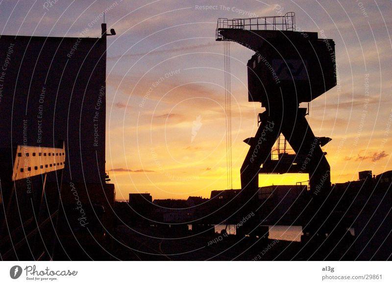 dockside01 Crane Sunset Dock Navigation Harbour Water Shipyard