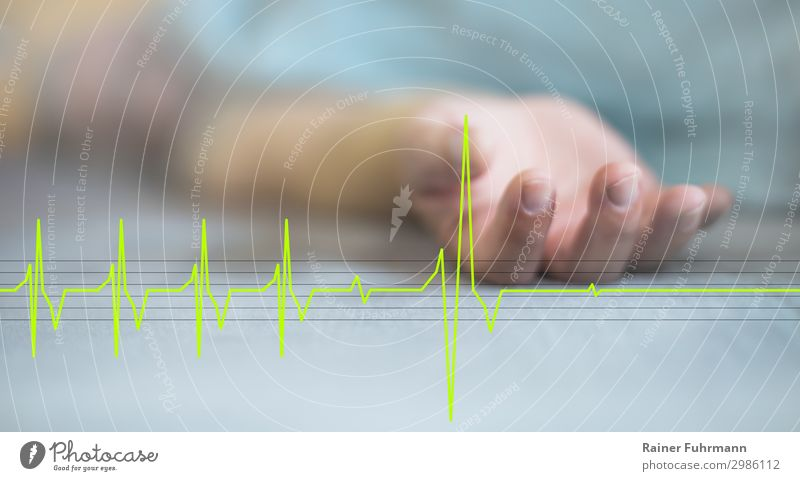 """The last moment - a man and his EKG Human being Man Adults Hand 1 """"Bed Duvet"""" Lie Sleep Old Illness Grief Death Pain Healthy Health care Stagnating Decline"""