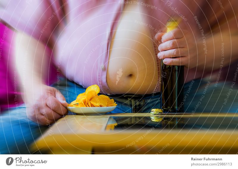 fat man with beer and chips Human being Masculine Man Adults Male senior Stomach 1 Shirt Jeans Eating Drinking Fat Hideous Disappointment Loneliness Debauchery