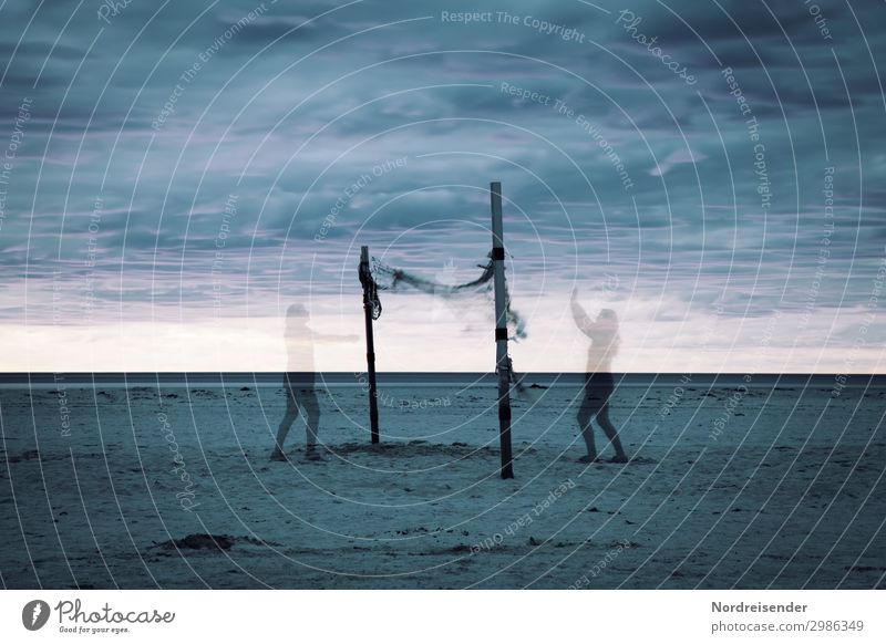 Game of Spirits Beach Human being 2 Sky Clouds Ocean Playing Sports Exceptional Together Crazy Bizarre Eternity Mysterious Whimsical Moody Surrealism Symmetry