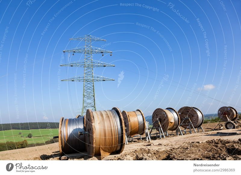 Town Work and employment Metal Field Energy industry Technology Telecommunications Beautiful weather Future Industry Construction site Cable Profession