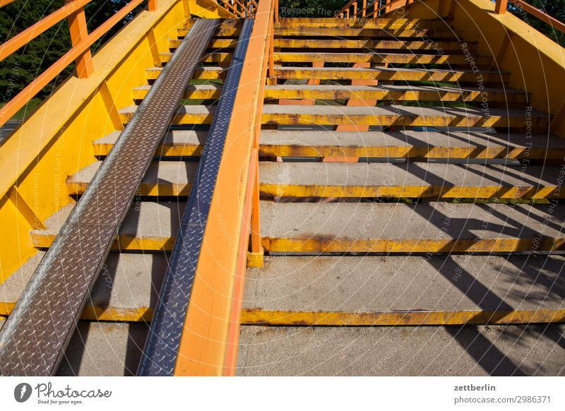 staircase Town Stairs Level Intersection Pedestrian crossing Pedestrian bridge Career Light Shadow Yellow Ascending Go up Handrail Banister Bridge railing