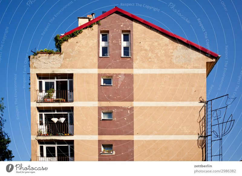 Roof terrace left Old Old town Ancient House (Residential Structure) legica Picturesque Poland Silesia Town Living or residing Apartment Building Tower block