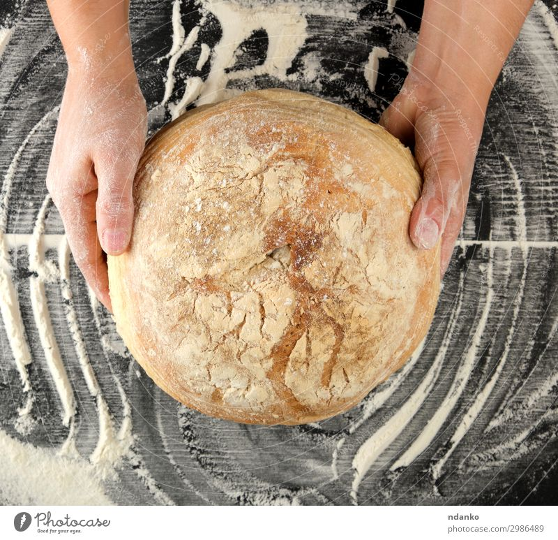 female hands holding round baked bread Dough Baked goods Bread Nutrition Table Kitchen Hand Wood Eating Dark Fresh Large Natural Above Brown Black Tradition