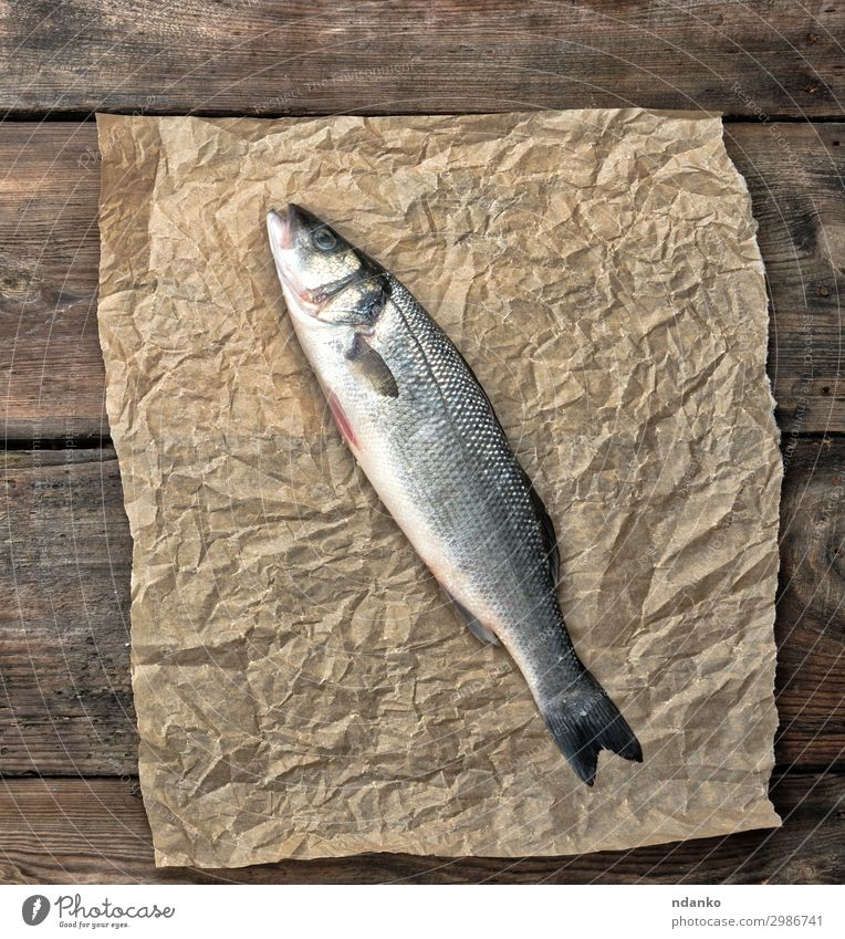 fresh whole sea bass fish on brown crumpled paper Seafood Nutrition Ocean Table Kitchen Nature Animal Paper Wood Fresh Above Brown Gray Culinary Gourmet Cooking
