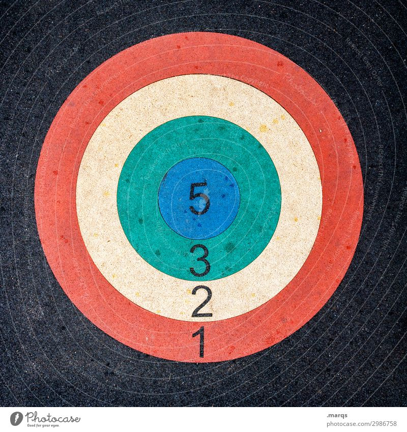 The goal before your eyes Success Archery Sporting event Circle Digits and numbers Blue Yellow Green Red Black Silver Target Sardinia 5 3 2 1 Colour photo
