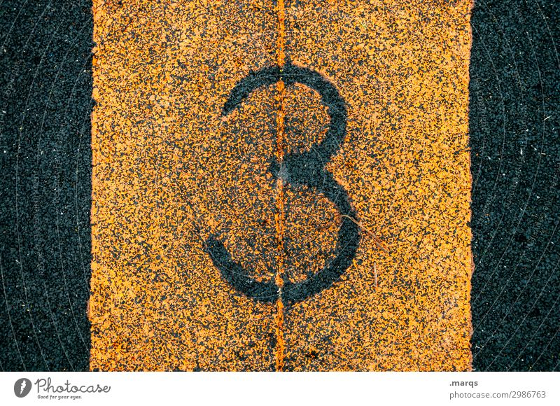 3 Success Sporting Complex Sporting event Plastic Digits and numbers Authentic Orange Black Numbers Colour photo Exterior shot Close-up Structures and shapes