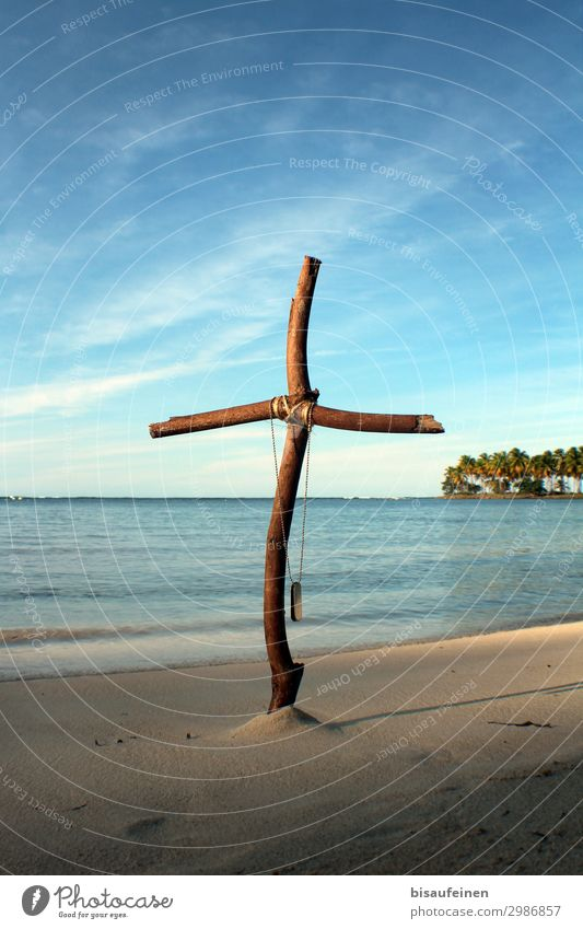 end of vacation Vacation & Travel Tourism Adventure Far-off places Beach Ocean Maritime Crucifix Wooden cross military brands dogtag palm forest Palm tree Bay