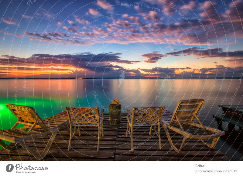 waiting for sunrise Lifestyle Exotic Beautiful Relaxation Vacation & Travel Tourism Summer Beach Ocean Chair Nature Landscape Sand Sky Clouds Horizon Sunrise