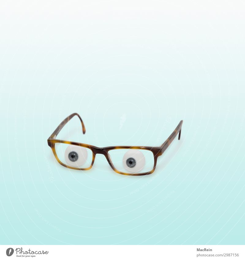 Glasses with glass eyes Eyes Observe Simple Blue Surveillance Eyeglasses glancing Appearance Colour Humor humorous colored background Background picture